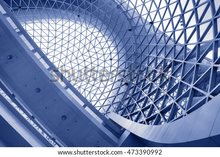 Abstract architectural background. Toned in blue color #473390992