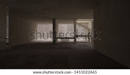 Abstract architectural brown and beige concrete interior of a minimalist house with white background . 3D illustration and rendering. #1451022665