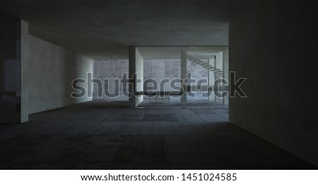Abstract architectural brown and beige concrete interior of a minimalist house with white background . 3D illustration and rendering #1451024585
