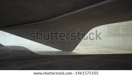 Abstract architectural brown and beige concrete smooth interior of a minimalist house. 3D illustration and rendering #1461575105