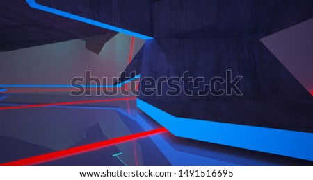 Abstract architectural concrete and white interior of a minimalist house with color gradient neon lighting. 3D illustration and rendering. #1491516695
