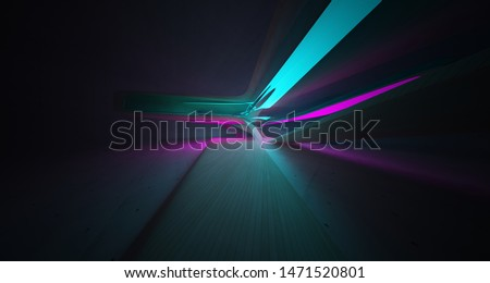 Abstract architectural concrete and wood smooth interior of a minimalist house with color gradient neon lighting. 3D illustration and rendering.