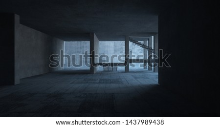 Abstract architectural concrete interior of a minimalist house. 3D illustration and rendering. #1437989438