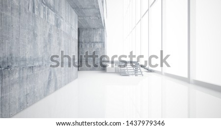 Abstract architectural concrete interior of a minimalist house with white background . 3D illustration and rendering. #1437979346