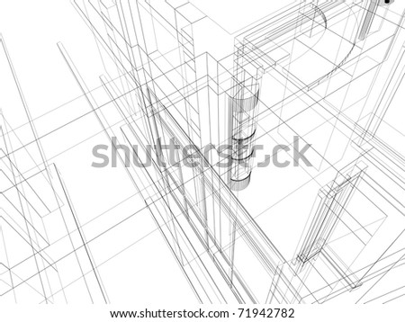 Abstract architectural construction. Architecture and designing concept.