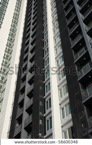 Abstract Architectural Detail of a High Rise Apartment Block in Bangkok