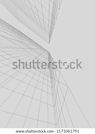 abstract architectural drawing 3d illustration #1171061791