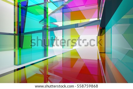 Stock Photo abstract architectural interior with gradient geometric glass sculpture with black lines. 3D illustration and rendering