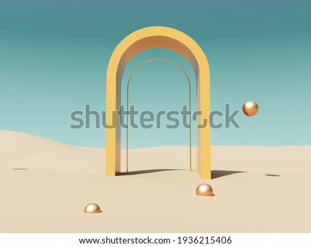 Abstract, architectural structure with arches and flying golden balls on sandy beach and sky background - 3D render with copy space. Modern minimal abstract illustration for advertising products. Zdjęcia stock ©