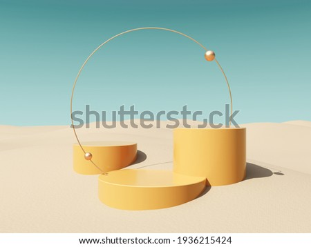 Abstract, architectural structure with arches and flying golden balls on sandy beach and sky background - 3D render with copy space. Modern minimal abstract illustration for advertising products. Photo stock ©