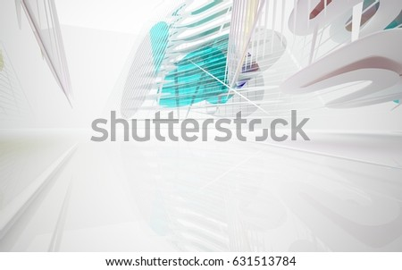 Stock Photo abstract architectural white interior with colored smooth glass gradient sculpture. 3D illustration and rendering