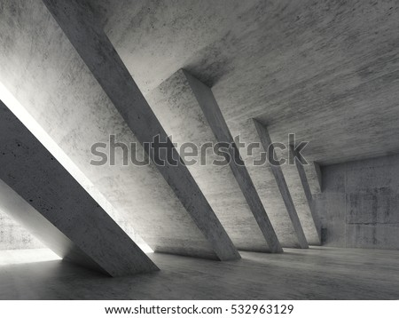 Shutterstock Abstract architecture background, empty rough concrete interior with diagonal columns. 3d illustration