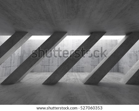 Abstract architecture background, front view of an empty dark concrete interior with diagonal columns and white ceiling window. 3d illustration