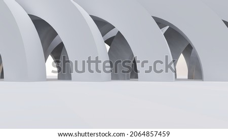 Abstract architecture background gray arched interior 3d render