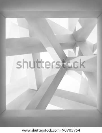 Abstract architecture background. Internal space of a modern chaotic braced construction
