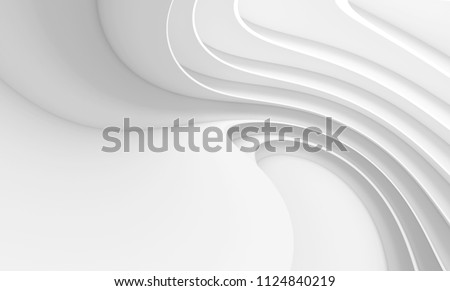 Abstract Architecture Background. White Circular Building. 3d Rendering