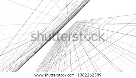 Abstract architecture building 3d illustration #1382262389