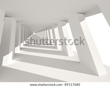 Abstract Architecture. Corridor Interior with tilted columns.