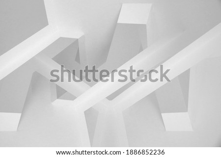 Abstract architecture. Digitally rendered 3d image. Futuristic building. Walls and ceiling surfaces in black and white. Polyhedron geometric background structure with multiple facets of various shapes Zdjęcia stock ©