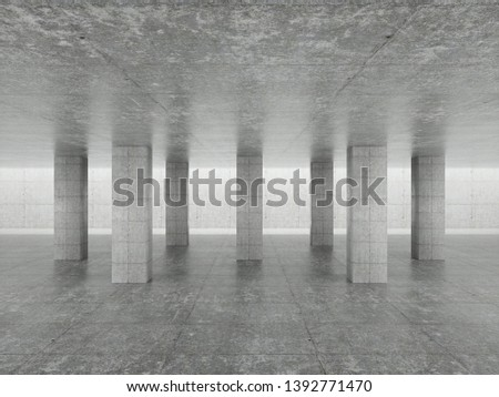 Abstract architecture interior background, empty concrete room with lighting in ceiling, 3d illustration - Illustration - Illustration