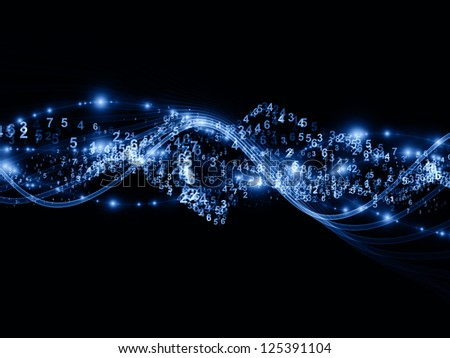 Abstract arrangement of abstract sine waves, numbers and design elements suitable as background for projects on modern computing, virtual reality and signal processing