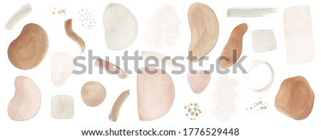 Abstract Arrangements. Elements, textures. Posters. Terracotta, blush, pink, ivory, beige watercolor Illustration and gold elements, on white background. Modern print set. Wall art. Business card.