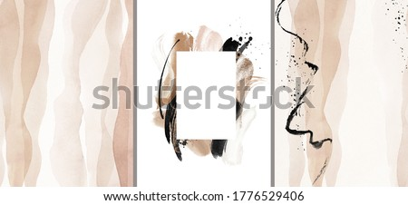 Abstract Arrangements. Frame. Posters. Terracotta, blush, pink, ivory, beige watercolor Illustration and gold elements, on white background. Modern print set. Logo. Wall art. Business card.