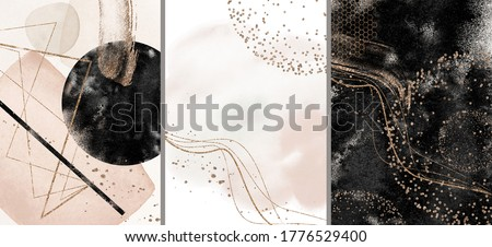Abstract Arrangements. Galaxy, space. Posters. Terracotta, blush, pink, ivory, beige watercolor Illustration and gold elements, on white background. Modern print set. Logo. Wall art. Business card.