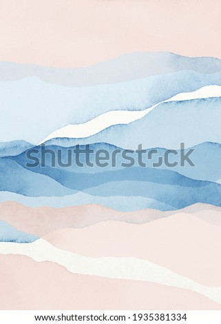 Abstract Arrangements. Landscapes, mountains. Posters. Blue, navy, blush, pink, ivory, beige, white watercolor Illustration, background. Modern print set. Wall art. Business card. Printable. Pastel.
