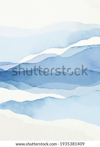 Abstract Arrangements. Landscapes, mountains. Posters. Blue, navy, white watercolor Illustration, background. Modern print set. Wall art. Business card. Printable. Pastel. Сток-фото ©