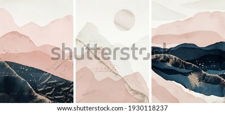 Abstract Arrangements. Landscapes, mountains. Posters. Blush, pink, blue, navy, ivory, beige, gold watercolor Illustration, background. Modern print set. Wall art. Business card. Printable.  Foto stock ©