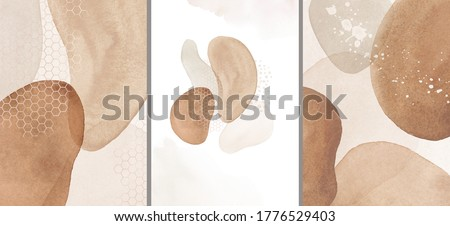 Abstract Arrangements. Posters. Terracotta, blush, pink, ivory, beige, watercolor Illustration and gold elements, on white background. Modern print set. Logo. Wall art. Business card.