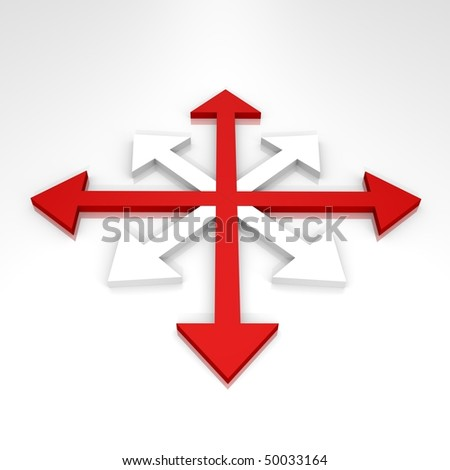 Abstract arrows to all directions - a 3d image