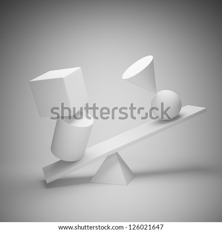 Abstract art background. Balancing geometric shapes.