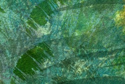 Abstract art background dark green and cyan colors. Watercolor painting on canvas with emerald soft gradient. Fragment of artwork on paper with tropical pattern. Texture backdrop, macro.