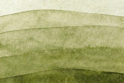 Abstract art background green and olive colors. Watercolor painting on canvas with soft khaki gradient. Fragment of artwork on paper with wavy pattern. Texture backdrop.