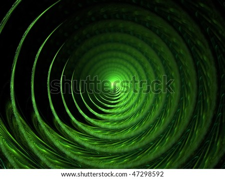 Abstract Art Background -Green Spiral On Dark Backdrop