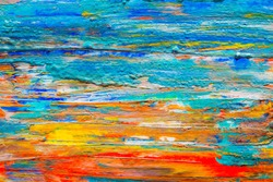 Abstract art background hand drawn acrylic painting. Brushstrokes colorful texture acrylic paint on canvas. picture for artwork design. Modern contemporary art.