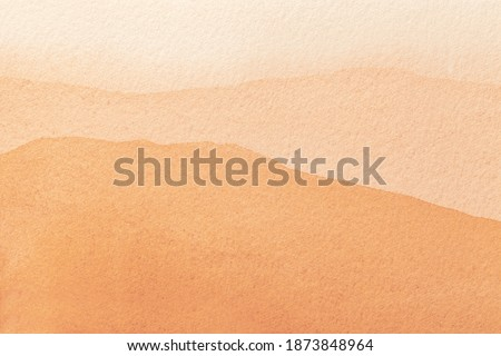 Abstract art background light orange and coral colors. Watercolor painting on canvas with soft peach gradient. Fragment of artwork on paper with waves pattern. Texture backdrop.