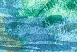 Abstract art background navy blue and green colors. Watercolor painting on canvas with emerald stains and turquoise gradient. Fragment of cyan artwork on paper with wave pattern.