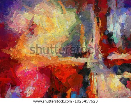 Abstract art background. Oil on canvas. Warm colors. Soft brushstrokes of paint. Modern art. Contemporary art.