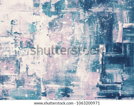 Stock Photo Abstract art background. Oil painting on canvas. Blue, purple and white texture. Fragment of artwork. Spots of oil paint. Modern art. Contemporary art.
