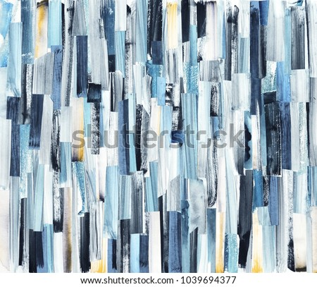 Abstract art background with multicolor stripes and teals. Ink texture on paper