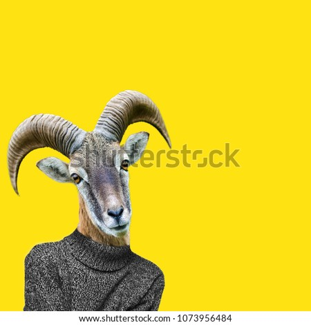 Abstract art collage. Big horn sheep on humans body, Ram head clip art. #1073956484