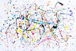 Abstract art creative background.Abstract art of splashes and drips watercolors background.