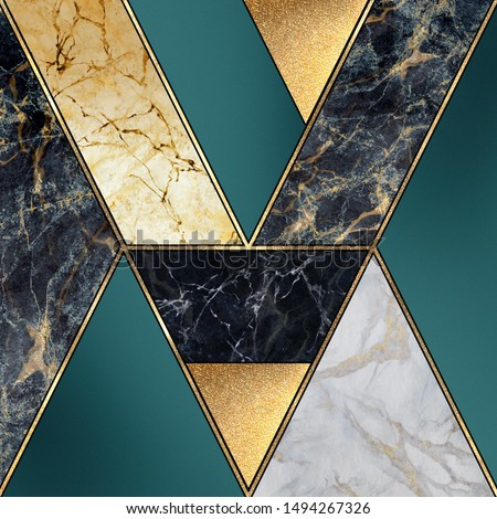 abstract art deco background, geometric pattern, creative texture of marble, modern mosaic inlay, green and gold, artificial painted stone, marbled tile surface, minimal fashion marbling illustration