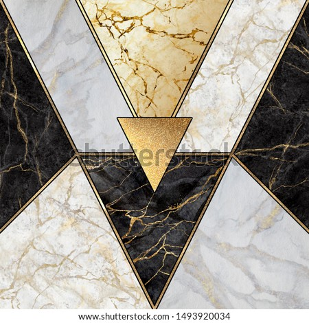 abstract art deco background, geometric pattern, modern mosaic inlay, creative textures of marble granite and gold, artificial stone, artistic marbled tile surface, fashion marbling illustration