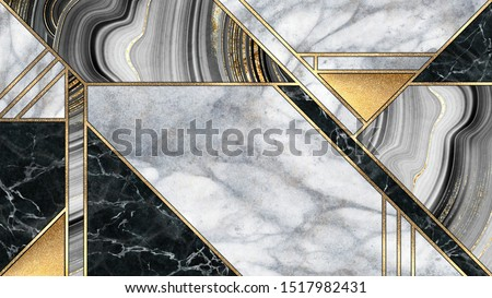 abstract art deco background, minimalist geometric pattern, modern mosaic inlay, texture of marble agate and gold, artistic artificial stone design, marbled tile, minimal fashion marbling illustration
