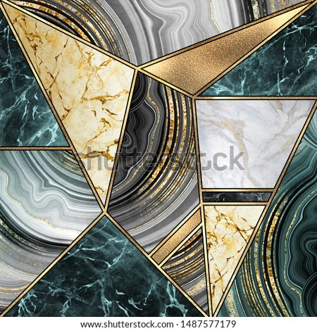 abstract art deco background, modern mosaic inlay, creative texture of marble agate and gold, artistic painted marbling, artificial stone, marbled tile surface, minimal fashion marbling illustration