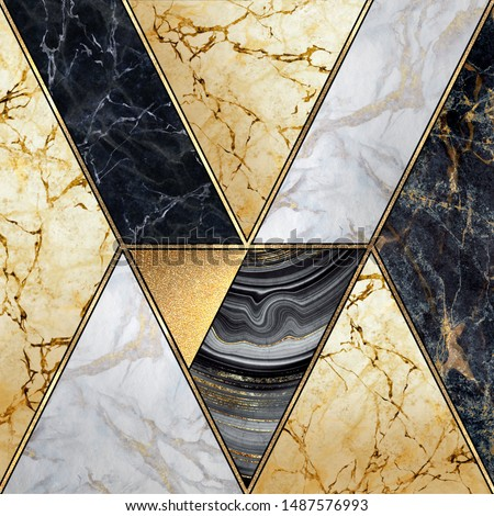 abstract art deco geometric background, modern mosaic inlay, creative textures of marble granite agate and gold, artistic artificial stone, marbled tile surface, fashion marbling illustration